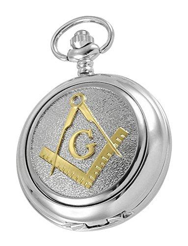 (Woodford Mens Masonic Albert Skeleton Pocket Watch - Silver/Gold)