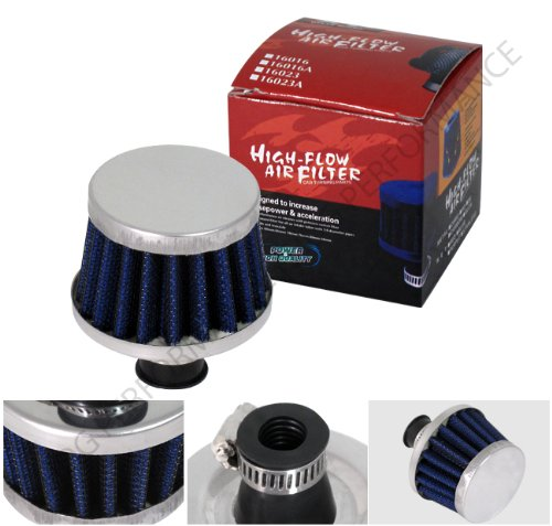 12mm Dry Cone Style Intake Crankcase Breather Filter Blue Chrome Trim - Trim Gauze