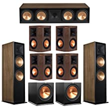 Klipsch 7.2 Walnut System with 2 RF-7 III Floorstanding Speakers, 1 RC-64 III Center Speaker, 4 Klipsch RP-250S Surround Speakers, 2 Klipsch R-115SW Subwoofers