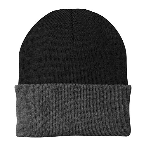 (Port & Company CP90 - Knit Cap (Black/Athletic Oxford))
