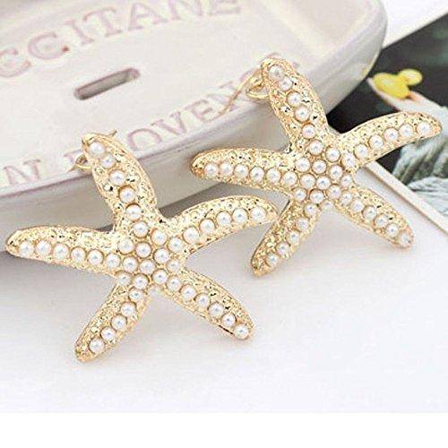wassana Aesthetic Sea Star Starfish Shining Pearl Dangle Earring Ear Jewelry Pop Sale