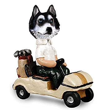 Amazon.com: Husky Blanco y Negro w/blue eyes Carrito de golf ...