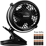 Baby Stroller Fans, Battery Operated Fan, Small Clip on Fan, Desk Fan with USB Cable, Portable Fans for Baby Stroller, Car, Gym, Office, Outdoor, Traveling, Camping-12 AA Batteries Included