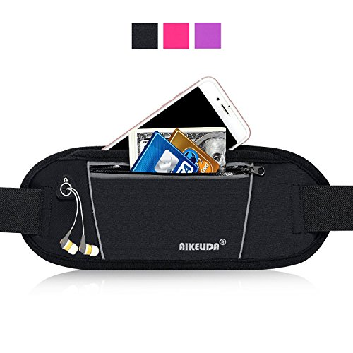 Women Pack (AIKELIDA Running Belt / Fanny Pack / Fitness Belt / Waist Pack for iPhone, Samsung Edge / Note / Galaxy - Men, Women during Sports Fitness, Running, Cycling, Hiking, Travel, Workout - Black)