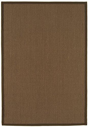 Modern Natural Mocha Brown Fashionable 100% Sisal Hardwearing Bordered Flatweave Living Room ()