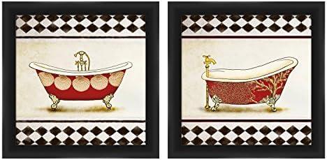 """PTM Images""""Checker Border Bath"""" アートワーク 14 x 14インチ ブラック 2個セット"""