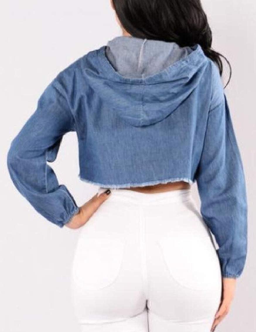 Hajotrawa Women Vogue Destructed Hooded Frayed Hems Jean Short T-Shirt Top