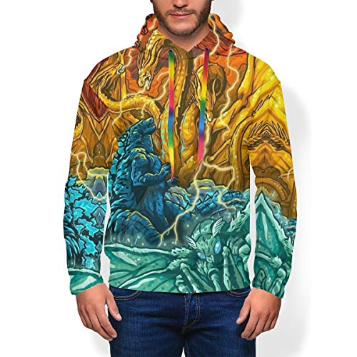 Youth Mens 3D Digital Print Pullover Hoodies, Rodan King Ghidorah Monsters Godzilla Mothra Anime Art Funny Soft Plus Fleece Long Sleeve Hooded Sweater Costume with Big Front Pocket