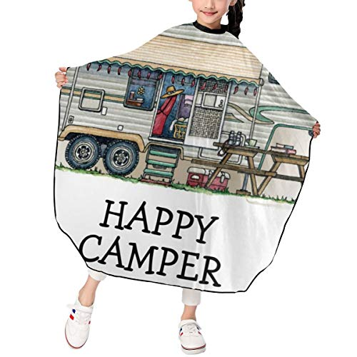 QDLDQ Camping High Tech Wheel Trailer Fifth Rally Haircut Salon Cape Hair Cutting Shampoo Waterproof Styling Capes Cloth for Child