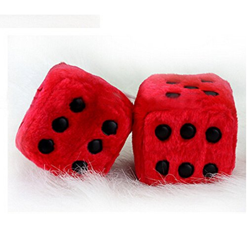 Giveme5 3 inch Pair of Retro Square Mirror Hanging Couple Fuzzy Plush Dice with Dots For Car Interior Ornament Decoration (Red)
