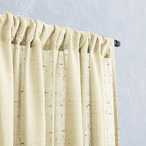 Home Linen Window Panel (Linen Sheers Curtains for Bedroom 63 inches Long Solid Privacy Checkered Decoration Window Treatment Set for Living Room Curtain Panels 2 pcs Ivory)