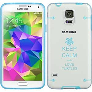 Light Blue Samsung Galaxy Ultra Thin Transparent Clear Hard TPU Case Cover Keep Calm and Love Turtles (Light Blue for S5)