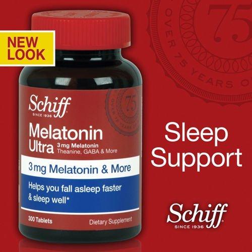 Качество Шифф Бренд - Шифф Мелатонин Ultra. 300 таблеток. 3 мг Мелатонин + 25 мг L-Theanine + 25 мг GABA + ромашки и валерианы Экстракты