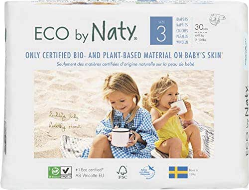 Eco by Naty Premium Disposable Baby Diapers for Sensitive Skin, Size 3, 6 Pack of 30 (180 Diapers) (Chemical, dioxin, Fragrance Free)