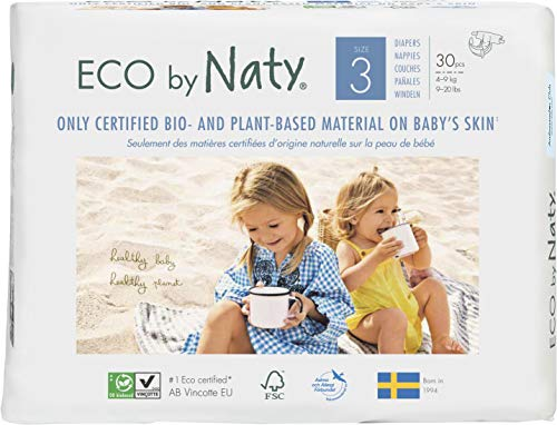 Eco by Naty Premium Disposable Baby Diapers for Sensitive Skin, Size 3 (Pack of 180) (Chemical, Dioxin, Fragrance Free)