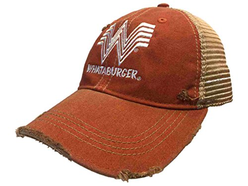 Whataburger Restaurant Retro Brand Orange Mesh Adjustable Snap Trucker Hat Cap