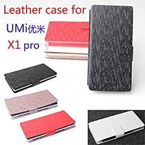 free shipping Umi X1 pro lattice case cover, Good Quality Leather Case + hard Back cover For Umi X1 pro cellphone --- Color:White