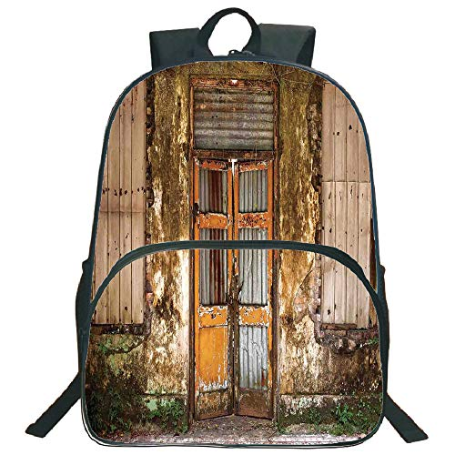 "Rustic Home Decor 3D Print 16"" Backpacks,Damaged Shabby House with Boarded Up Rusty Doors and Mold Windows Home Decor,3th 4th 5th Grade School Bookbags Travel Laptop Daypack Bag Purse,for Kids Teens,M"