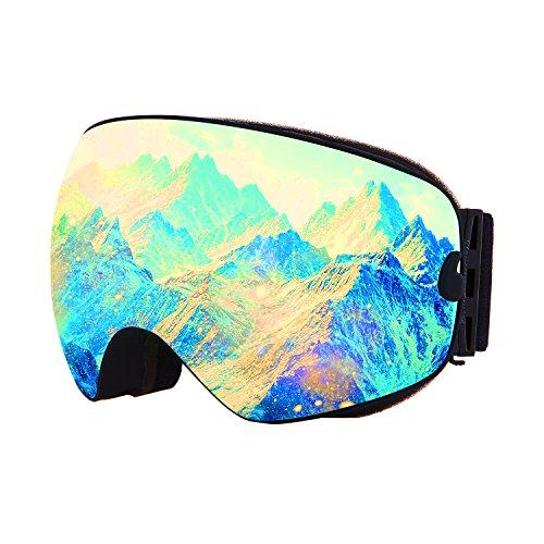 JASHA'S Ski Goggles with Frameless Spherical Dual Layer UV 400 Anti Fog Lens and Overglass Helmet snowboard Snowmobile Snow goggles for Men Women Adult Kids