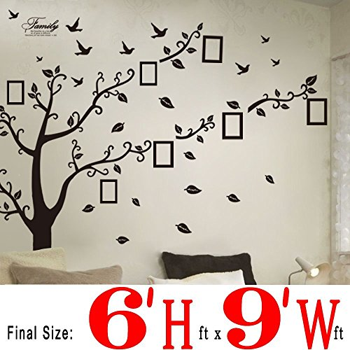 BOGZON 6'(h) X 9'(w) Huge Size Family Photo Frame Tree Quote Picture Removable Wall Decor Art Stickers Vinyl Decals Home Decor Include 11birds for Living Room & Bedroom & Livingroom (Photo Wall Decal)