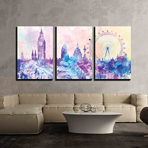 wall26 - 3 Piece Canvas Wall Art - Hues of Purples and Pinks