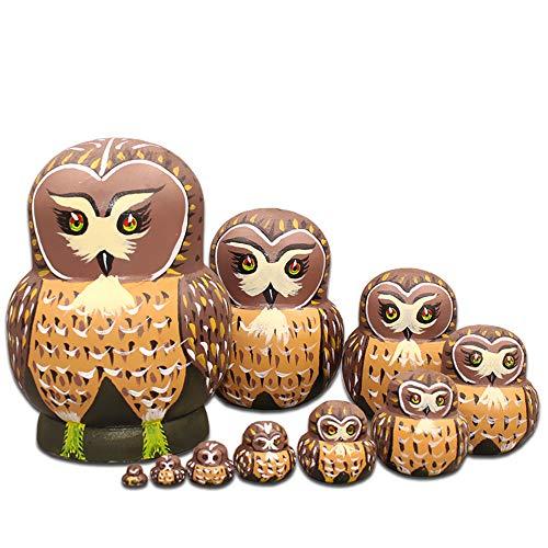 Moonmo 10pcs Cute Vivid Big Belly Shape Brown Owl Handmade Wooden Russian Nesting Dolls Matryoshka Dolls by Moonmo (Image #5)