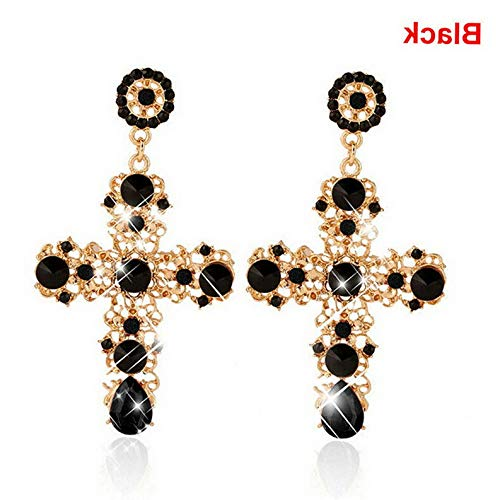 - Tomikko HOT New Baroque Style Crystal Luxury Gold Cross Large Long Dangle Earrings Women | Model ERRNGS - 8590 |