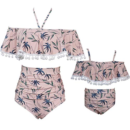 Rysly Womens Girls Halter Top High Waisted Bathing Suits Ladies Swimwear Bikinis Set Pink Tassel S