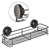 Gecko-Loc Shampoo Conditioner Holder Shower Caddy Wide Storage Basket Shelf Tray Organizer Stainless Steel w Vacuum Suction Cup - Black