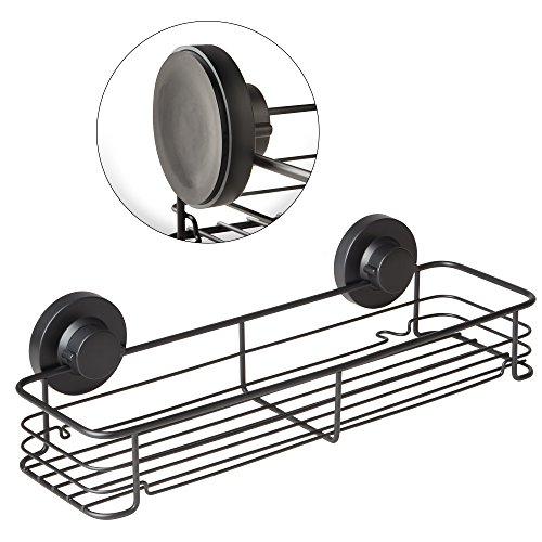 Corner Shower Trays - Gecko-Loc Shampoo Conditioner Holder Shower Caddy Wide Storage Basket Shelf Tray Organizer Stainless Steel w Vacuum Suction Cup - Black
