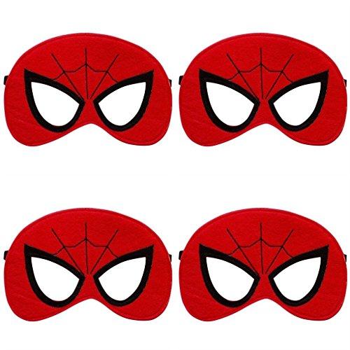 4 Pack MASKS Superhero or Princess Kids Childrens Halloween Costumes, Super Hero Party Favors (Spiderman)