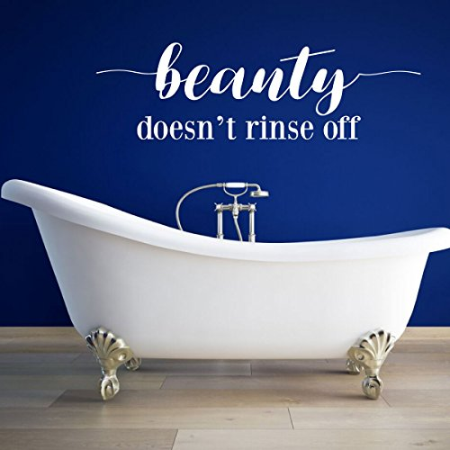 Bathroom Wall Decor - Bath Decal Art - Beauty Doesn't Rinse Off - Farmhouse Vinyl Sticker Decoration for Home, Living Room or - Rinse Bubble