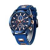 Men's Sport Quartz Watches,Fashion Casual Watch,Mini Focus Men Chronograph Waterproof Wrist Watch with Date Display (Gold Blue)