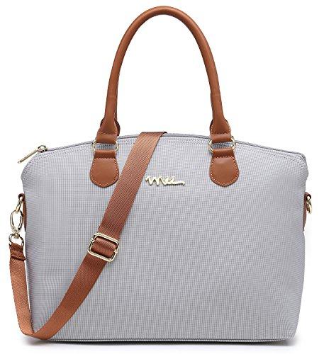 NNEE Water Resistance Nylon Top Handle Satchel Handbag with Multiple Pocket Design - Silver Gray