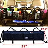 P&F HIGH QUALITY PRODUCTS SUV Trunk Organizer by P&F | Extra Large Collapsible Cargo Net Backseat Storage with Umbrella Holder Hanging for Compact Crossovers to Mid-Size SUVs | CRV (Black w/h - XL)