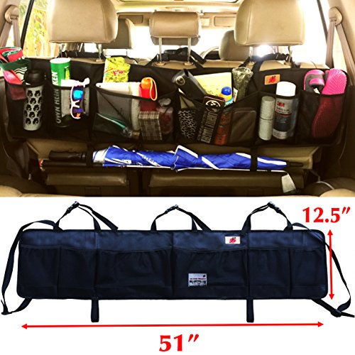 P F High Quality Products Suv Trunk Organizer By P F   Extra Large Collapsible Cargo Net Backseat Storage With Umbrella Holder Hanging For Compact Crossovers To Mid Size Suvs   Crv  Black W H   Xl