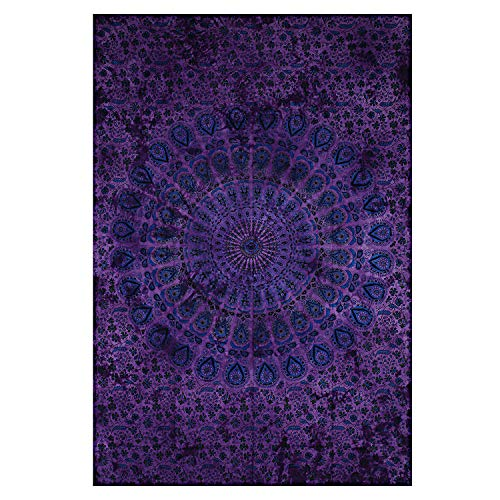 Montreal Tappassier Indian Wall Decor Hippie Tie Dye Purple Tapestries Bohemian Mandala Tapestry Wall Hanging - Wall Tapestries Dye Tie