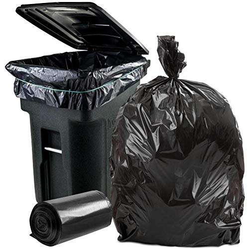 "Plasticplace 95-96 Gallon Garbage Can Liners │ 1.2 Mil │ Black Heavy Duty Trash Bags │ Rolls │ 61"" x 68"" (50 Count)"
