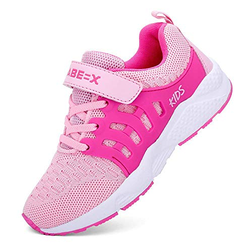 Zhenghewyh Kids Fashion Sneakers Lightweight Breathable Cute Athletic Outdoor Casual Sport Hiking Running Tennis Shoes Pink ()