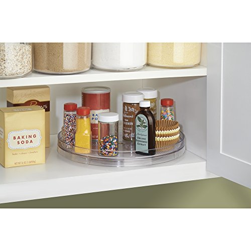 Mdesign lazy susan turntable spice organizer for kitchen pantry cabinet countertops large - Spice rack for lazy susan cabinet ...