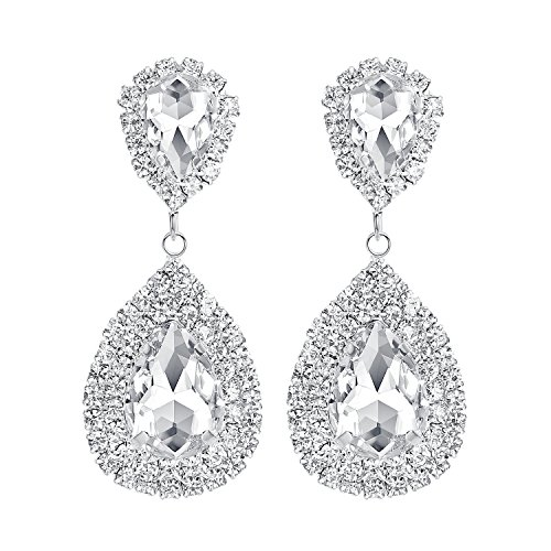 - mecresh Silver Teardrop Dangle Earrings Austrian Crystal Bridal Drop Chandelier Earrings for Women