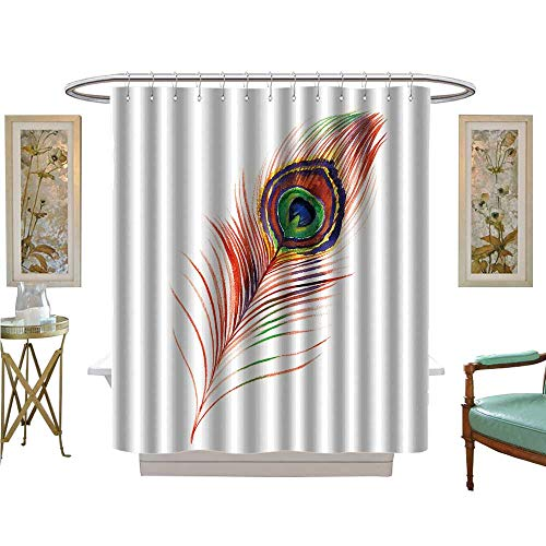 luvoluxhome Shower Curtains Digital Printing Peacock Feather Satin Fabric Sets Bathroom W48 x L72