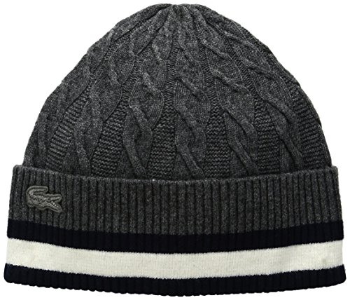 Lacoste Women's Cable Knit Stitch Beanie, Asphalt Chine/Flour/Navy Blue, One Size