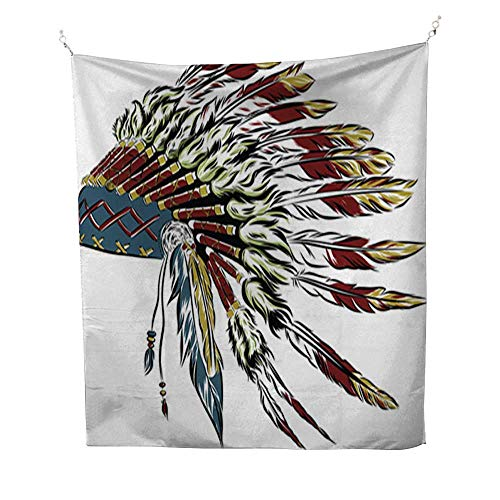 PINAFOREhome Wall tapestrybohemian tapestryNative American Indian Headdress with Feathers in a Sketch style2 51W x 60L INCH -