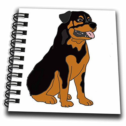 3dRose All Smiles Art Music - Cute Funny Rottweiler Puppy Dog Art - Mini Notepad 4 x 4 inch (Rottweiler Notepad)