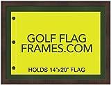 17 x 23 Golf Flag Frame; Walnut Frame 7351, Green Mat (holds 14×20 PGA, Ryder Cup, US Open Golf Flags; flag not incl) For Sale