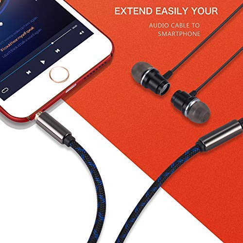 """3.5mm 1//8/"""" RED AUDIO CABLE AUX CORD LEAD WITH MIC FOR V-MODA OVER-EAR HEADPHONES"""