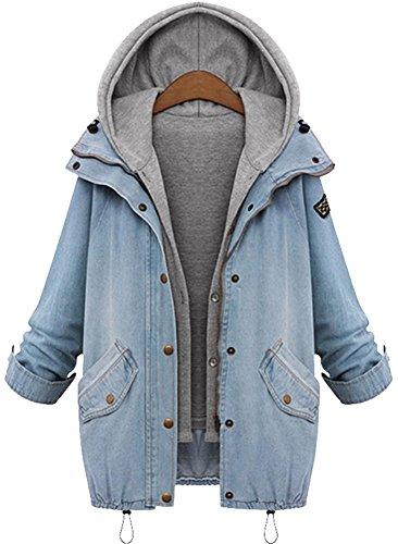 QZUnique Women's Plus Loose Fashion Slim Fit Hooded Cotton Denim Vest Jacket Asian : 3XL,Light Blue,US 18W by QZUnique
