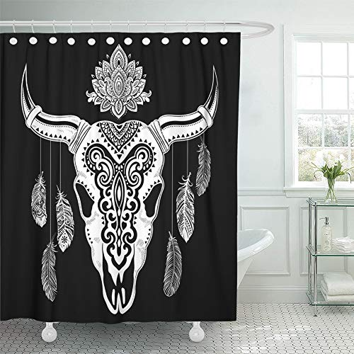 Emvency Shower Curtain Set Waterproof Adjustable Polyester Fabric Steer Tribal Animal Skull with Ethnic Ornaments Bull Longhorn Abstract American 72 x 72 Inches Set with Hooks for Bathroom
