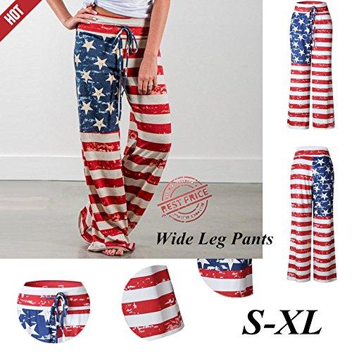 Farjing Womens Pants Clearance,Women American Flag Drawstring Wide Leg Pants ()